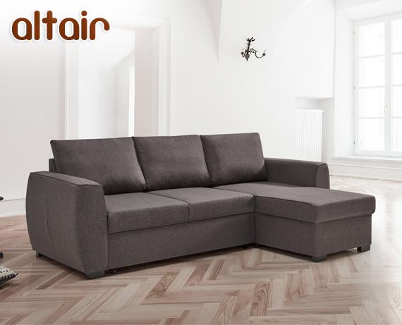 Sof cama chaise longue de tela altair for Divan cama completo
